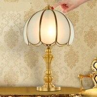 Полный меди лампы Настольные лампы Гостиная исследования спальня ночники American Retro декоративные медные стол Лампы для мотоциклов lo7136