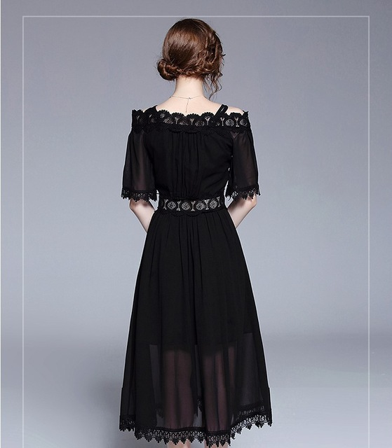 LARCI Evening Party Dress Sexy Spring Woman Strap Short Sleeve Black Lace Slim Dress Women Big Hem Dress Female N7140