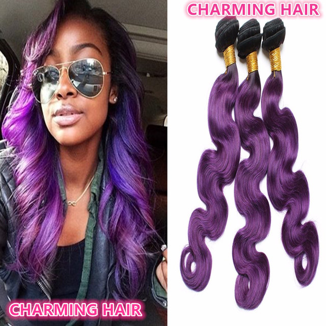 Dark Root Ombre 1b Purple Hair Weave Brazilian Virgin Remy Human