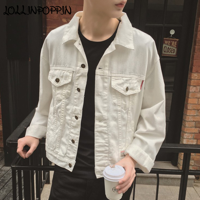 Us 33 84 13 Off Aliexpress Com Buy White Denim Jacket For Men 2018 New Korean Fashion Mens White Jean Jackets With Flap Pockets At Chest Male