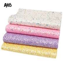 AHB 4pcs/set Glitter Leather Sheets Round Sequins For Bows DIY Bag Patchwork Material Handmade Leatherette Fabric