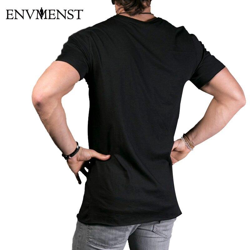 2018 Ny mænds fashion show Stilfuld lang t-shirt Asymmetrisk side - Herretøj - Foto 2