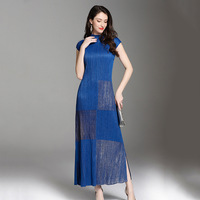 Golden Pleated Loose Casual Tidal Fashion High Quality Elegant Long Dress