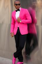 Hot Pink Slim Fit Mens Fashion Grooming Suits Two Buttons Best Men Party Stage Perform Tuxedo Custom Made Jacket Vest Pant