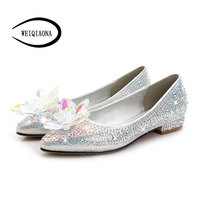 WEIQIAONA Cinderella glass flats Pointed Toe Luxury crystal flowers diamond wedding Bride bridesmaid shoes real picture