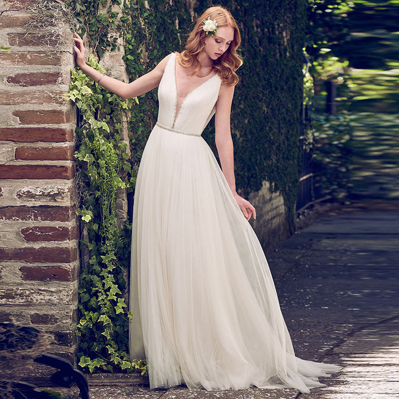 LORIE Ladies V Neck Beach Wedding Dresses Beaded A Line White Tulle Sexy Simple Free Shipping