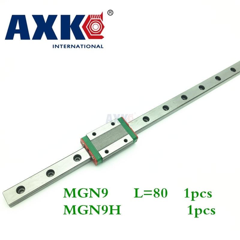 Linear Rail AXK Cnc Router Parts Axk Mgn9 9mm Miniature Linear Slide Set: L- 80mm Railm Gn9h Block Carriage Xyz Cnc Parts цена
