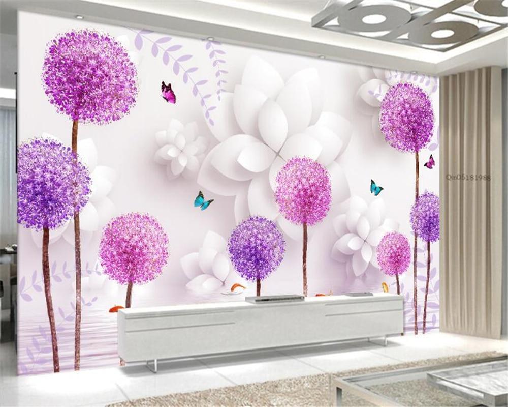 Beibehang 3D Wallpaper Stereo Flower Dandelion Watermarked 3D TV Backdrop Living Room Bedroom Mural  wallpaper for walls 3 d custom baby wallpaper snow white and the seven dwarfs bedroom for the children s room mural backdrop stereoscopic 3d