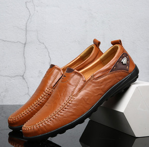 Image 4 - Men Shoes Casual Luxury Brand 2019 Genuine Leather Italian Men Loafers Moccasins Slip on Mens Boat Shoes Black Plus Size 37 47