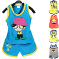 2016 summer children boys clothes cotton cartoon Kids Clothes girls clothes 0-3 year children clothing set vest Shorts 2pcs suit