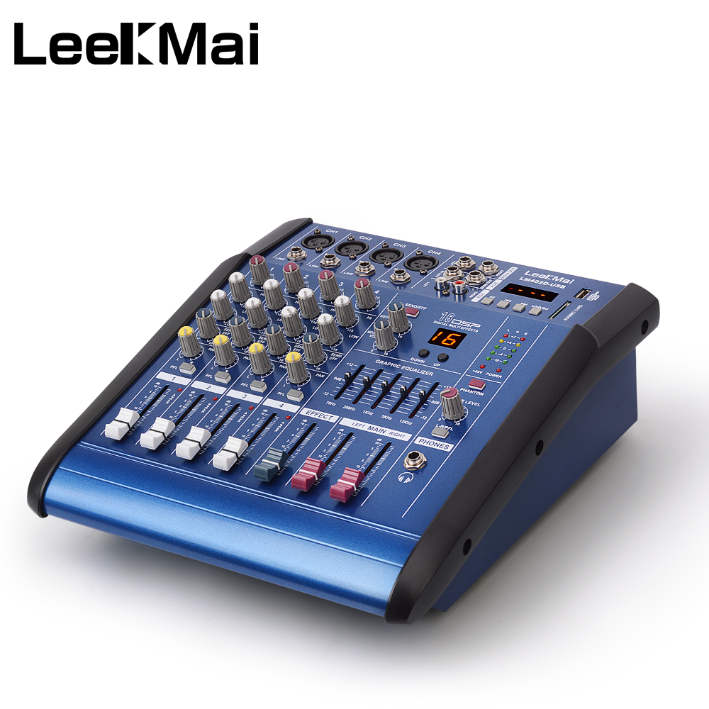 lm402d usb professional 4 channel audio mixer built in amplifier 16 bit digital effect pmx high. Black Bedroom Furniture Sets. Home Design Ideas