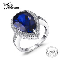 Luxury Hot Sale Charm 7ct Water Drop Cut Sapphire Ring Women Party Set Pure 925 Sterling