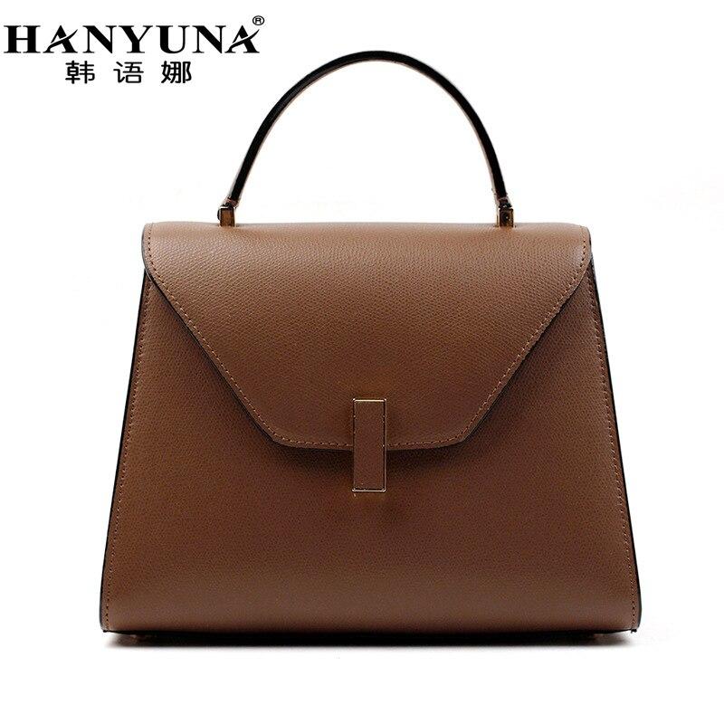 HANYUNA BRAND New Fashion Genuine font b Leather b font Women Hobos font b Handbags b