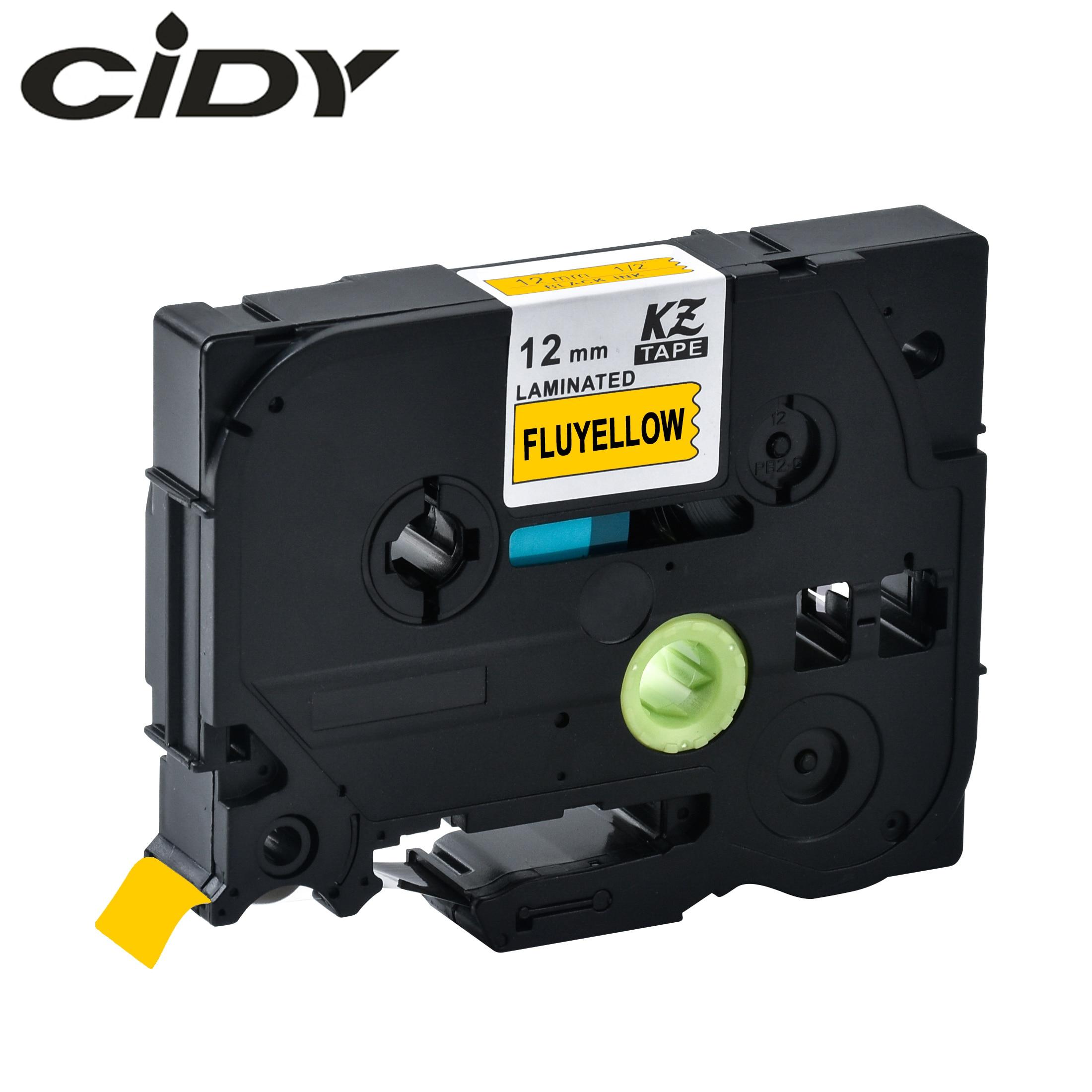 CIDY Tze-C31 Tz-C31 Black On Fluorescent Yellow Laminated Compatible Brother P Touch 12mm Tze C31 TZ C31 Label Cassette Ribbon