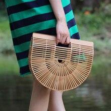 2017 новых хранения сумки контейнер ручной работы бамбук плести корзины пляжная сумка для женщины сумочка Дизайнер Tote Лето косметический организатор