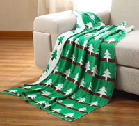 100% Cotton knitted blanket,size 110 x 130cm green tree design thread blanket,baby throw blanket two side available