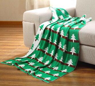 100% coton tricoté couverture, taille 110x130 cm vert arbre conception fil couverture, bébé jeter couverture deux côtés disponible