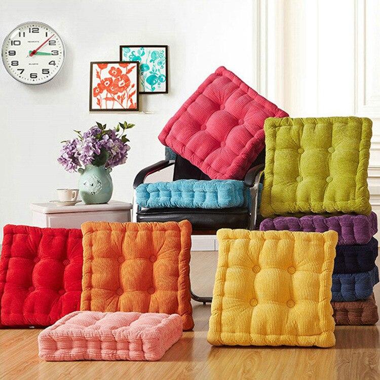 40 X 40cm Washable Corduroy Tatami Floor Seat Cushion Square Plaid Winter Warm Chair Pad Cushion Soft Car Seat Cushion
