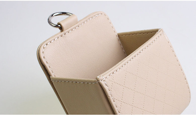 CHIZIYO PU Leather Outlet Air Vent Trash Auto Mobile Phone Holder Bag Pouch Box Tidy Storage Coin Bag Case Pocket