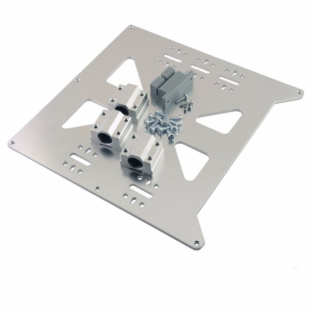Funssor 1set*RepRap Prusa i3 3D Printer Aluminum Y Carriage V2 Plate bed support Kit with SC8UU Bearings and belt holder funssor reprap mendel for prusa i3 rework y bed upgrade cnc aluminum y motor mount sturdier y idler y corner kit for 8mm rod