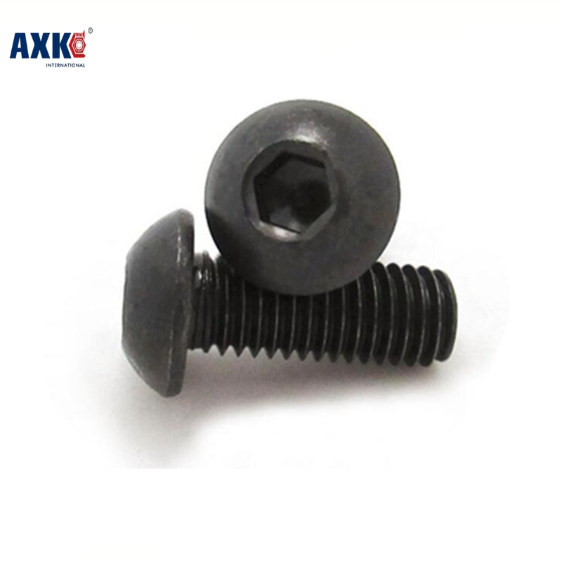 Axk 100pcs Grade 10.9 Iso7380 <font><b>M2</b></font>*3/4/5/6/8/10/12/14/16/18/20 2mm Button Head Hex Socket <font><b>Screws</b></font> Steel With Black image
