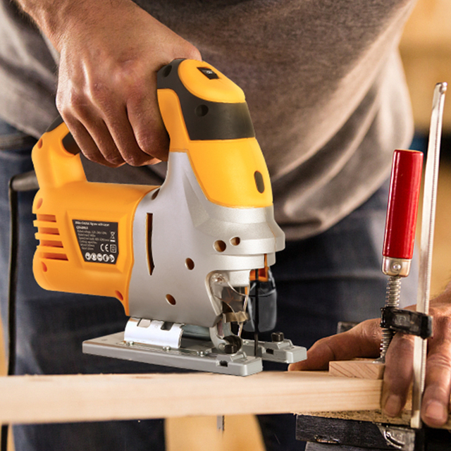 DEKO Laser Jig Saw, Variable Speed Includes 6pcs Blades, Metal Ruler, Dust Pipe, Allen Wrench Electric Saw Tools 3