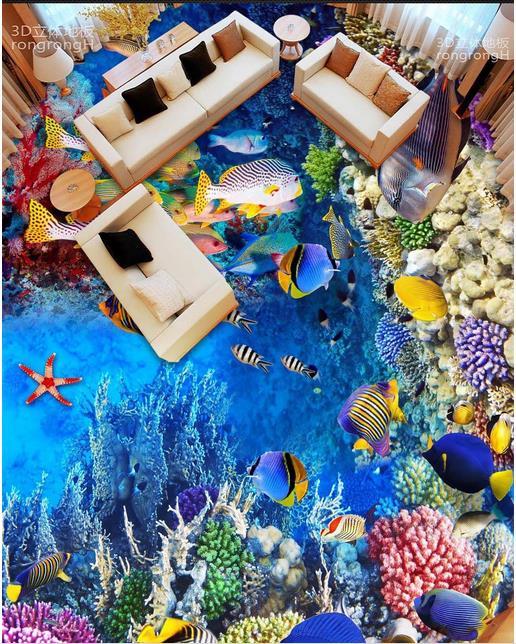 3d flooring room self adhesive wallpaper custom 3d floor Sea World Fish Coral 3d murals flooring photo wallpaper 3d flooring room self adhesive wallpaper custom 3d floor dolphin coral 3d murals flooring