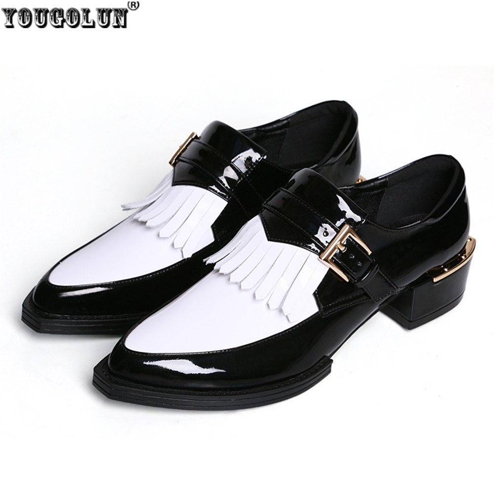 yougolun genuine leather black white oxfords
