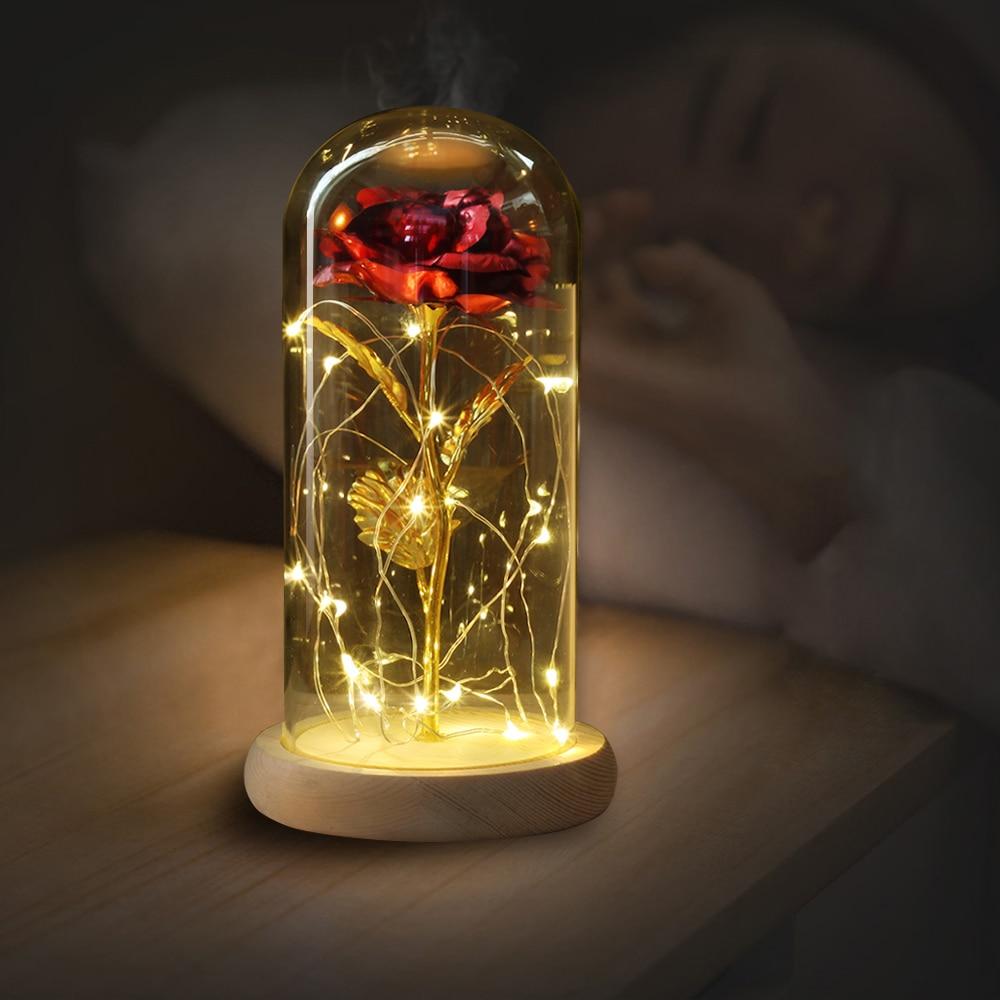 LED oro rosa en frasco de vidrio cúpula de la belleza y la Bestia rosa roja flores decorativas coronas para el Día de San Valentín de regalo de la madre regalos del día de