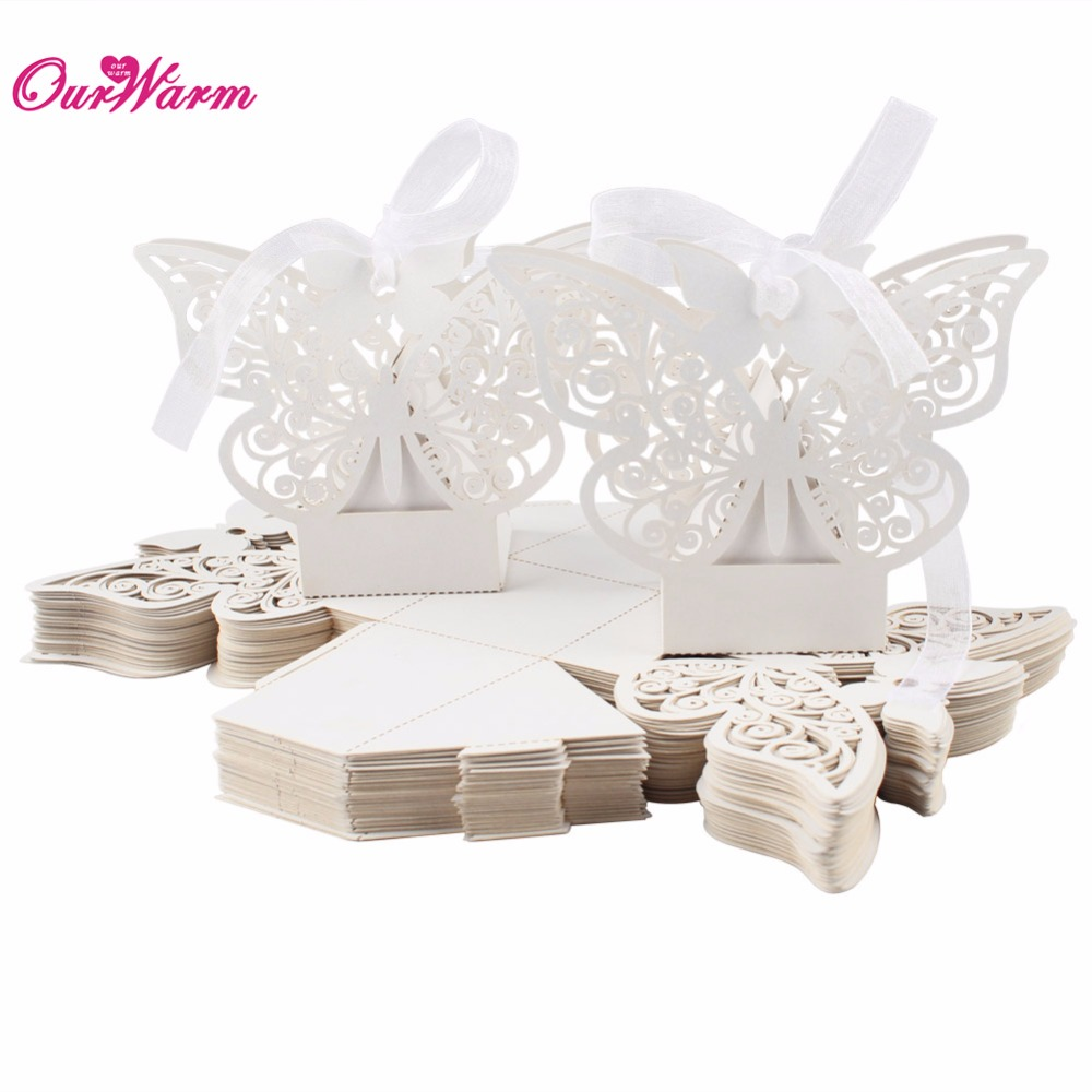 50pcs lot butterfly candy box wedding favors and gifts box for Wedding supplies near me