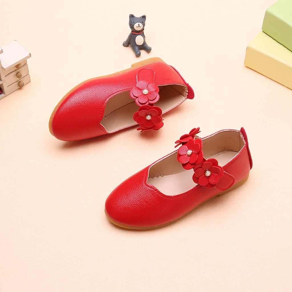 ילדי ילדי נעלי בנות מזדמנים אופנה אביב לנשימה נעל מוצק פרח יחיד ריקוד וו & לולאה נסיכת נעל נעל