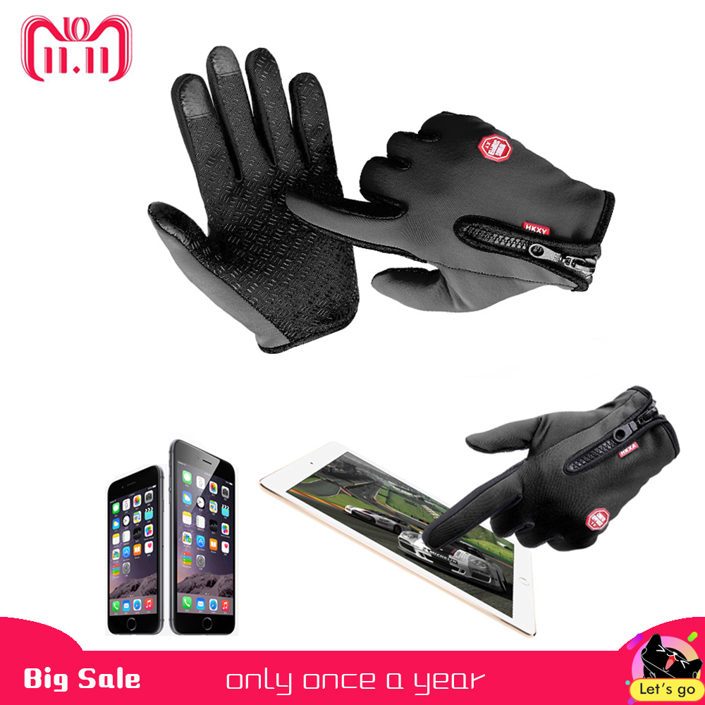 Hot Motorcycle Gloves Windstopper Full Finger Ski Gloves Warm Riding Glove Outdoor Sports M L XL Size Car-styling Touch Screen scoyco a012 xl sporty full finger motorcycle gloves black red pair size xl