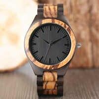 ทั้งนาฬิกาไม้ธรรมชาติ Stripes สร้อยข้อมือกระชับผู้ชายผู้หญิงไม้นาฬิกาข้อมือควอตซ์ 2017 ของขวัญร้อนนาฬิกา