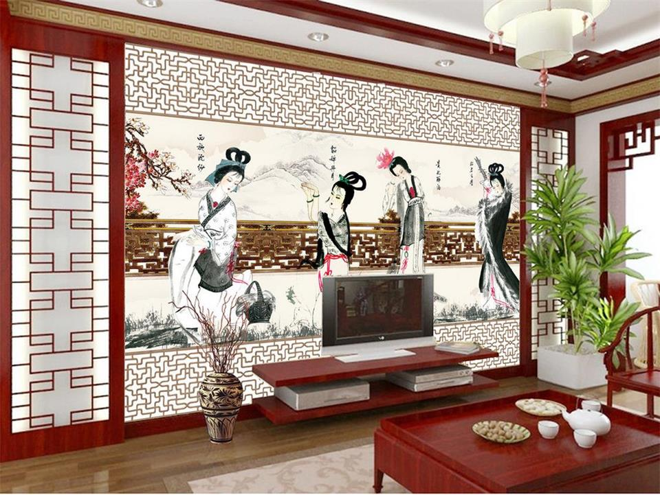 Printing ancient china promotion shop for promotional for Chinese mural wallpaper