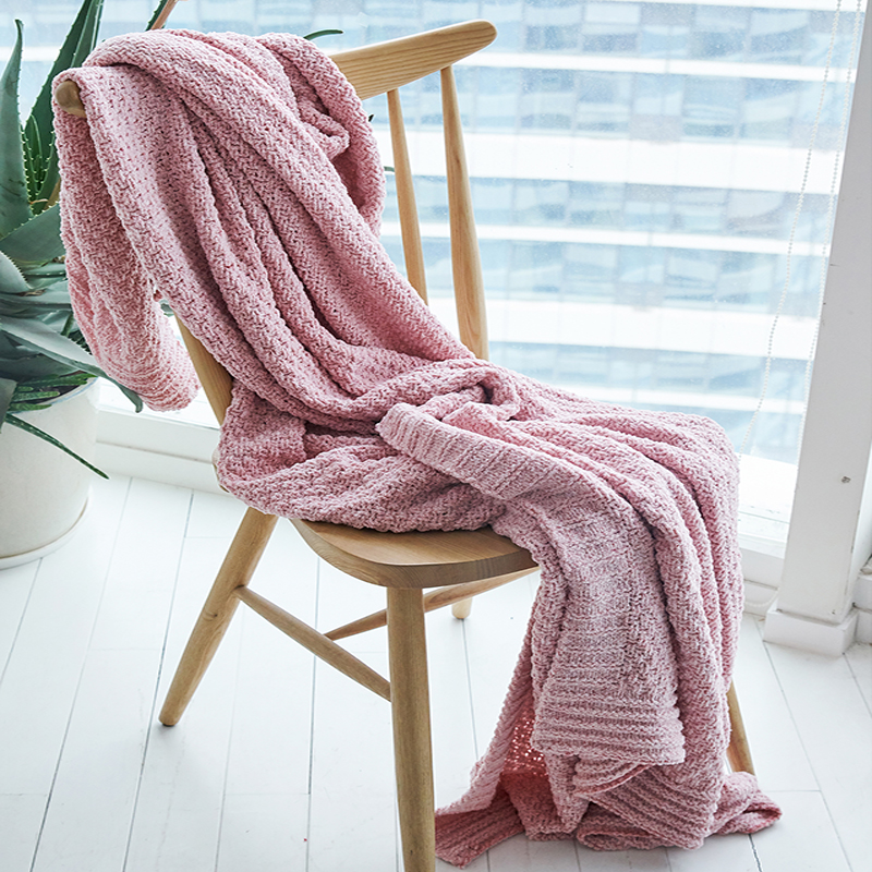 Blankets Tireless Idouillet 130x180cm Decorative Chenille Knit Crocheted Throw Blanket For Bed Couch Chair Picnic Beach Travel Bedding Oversized
