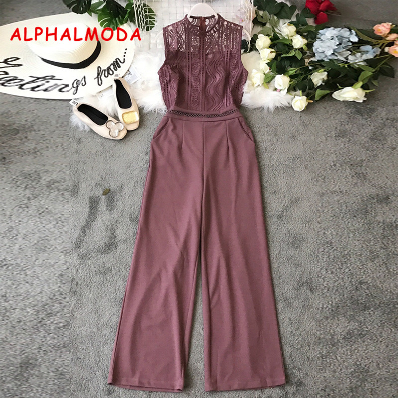 ALPHALMODA Euro-American Style Hollow Lace Stitching Sleeveless High Waist Wide-Legs Pants Women Vogue Fashion   Rompers