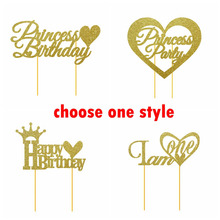 1pc Gold Glitter Happy Birthday Cake Topper Girls Princess Party 1st Decoration Supplies