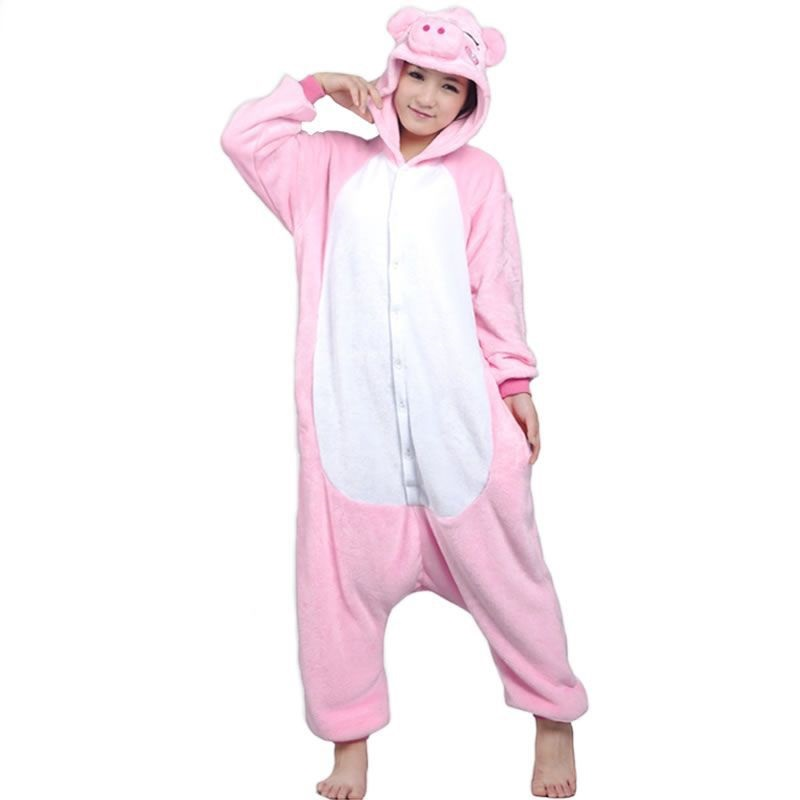 Adults Pink Pig Flannel Pajamas All In One Pyjama Suits Cosplay -1704