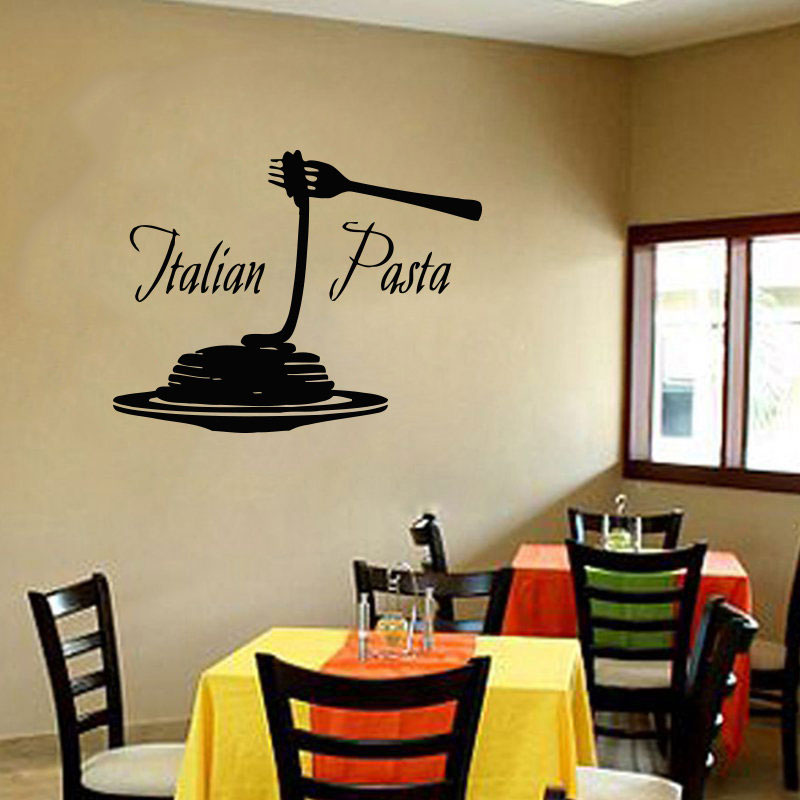 Italy Food Pizza Wall Sticker Vinyl Home Decor Restaurant Pasta Italian Noodles Cuisine Decals Removable Interior Decoration K35