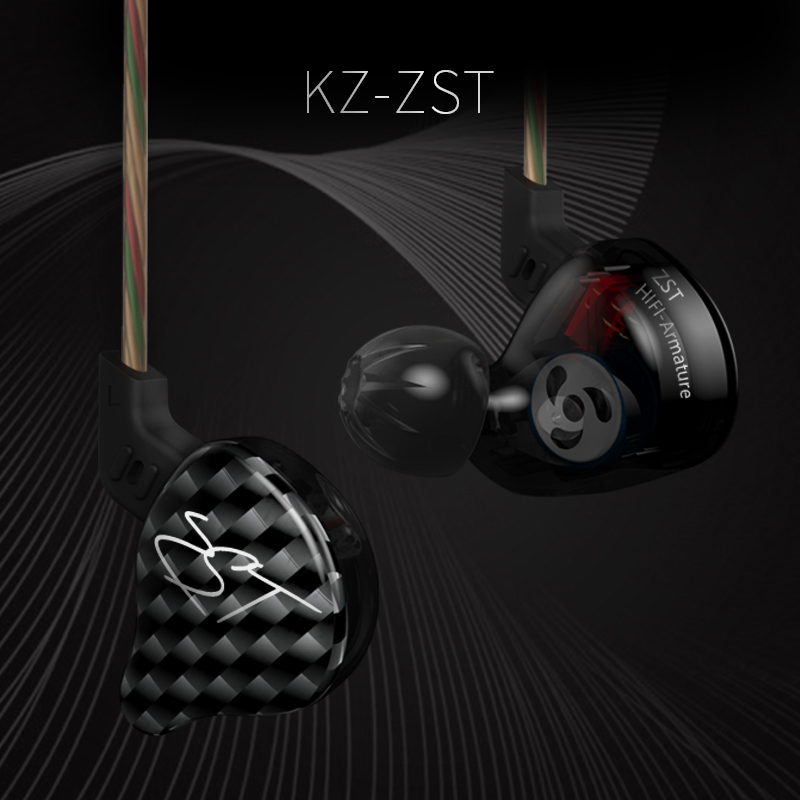 KZ Latest ZST In-Ear Earphone Dynamic Balanced armatures Hybrid Earphones Hifi Heavy Bass Monito Headset With Microphone Earbuds
