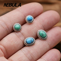 Vintage Real 925 Sterling Silver Stud Earrings With Turquoise For Women Earrings Jewelry Thai Silver