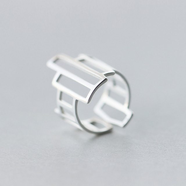 new New Real. 925 Sterling Silver geometric Ring jewelry adjustable GTLJ1086