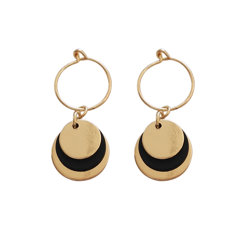 Fashion Jewelery personality big earrings geometric round metal texture charm earrings female punk jewelry gift
