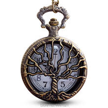 Drzewo życia zegarek kieszonkowy naszyjnik łańcuszkowy z ażurową dekoracją kwarcowy zegarek kieszonkowy Steampunk zegarek zegar mężczyźni kobiety prezenty reloj de bolsillo tanie tanio Gorben QUARTZ Akrylowe ROUND ANALOG Tree of Life Pocket Watch Stacjonarne Hardlex Unisex Kieszonkowy zegarki kieszonkowe