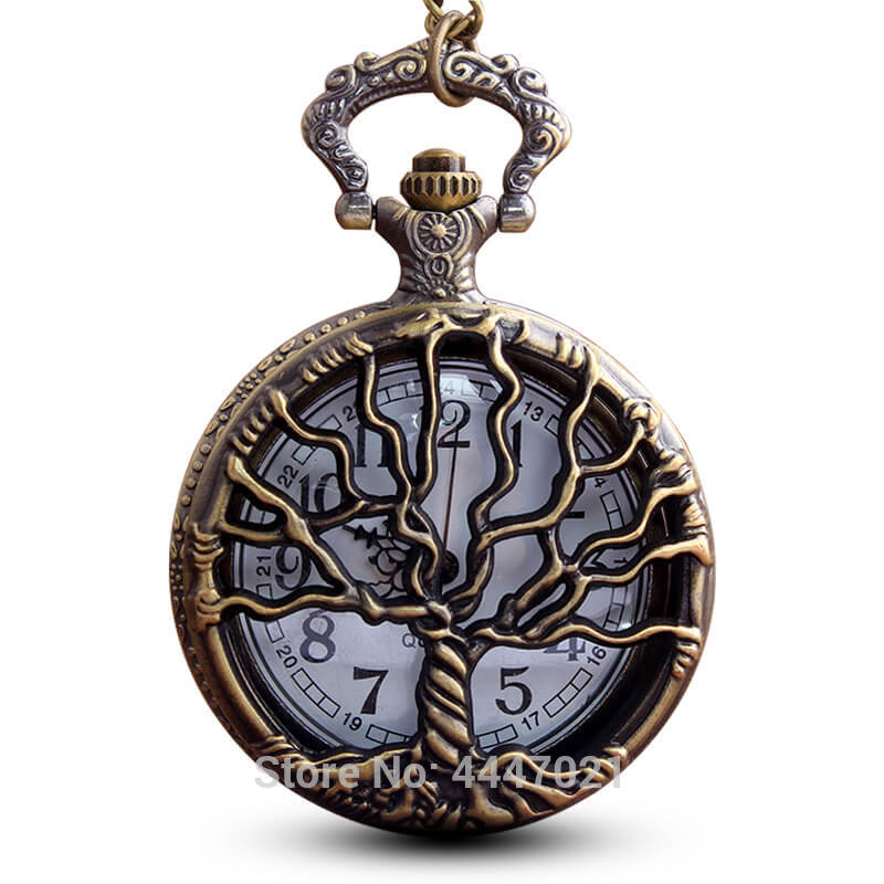 Tree Of Life Pocket Watch Chains Necklace Hollow Quartz Pocket Watches Steampunk Watch Clock Men Women Gifts Reloj De Bolsillo