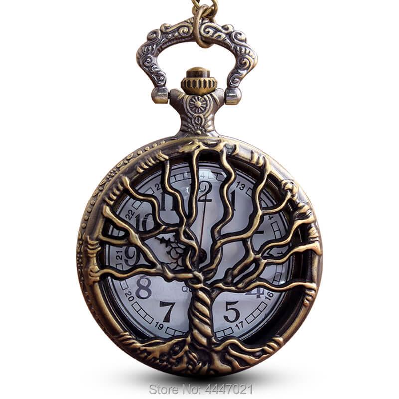 Tree Of Life Pocket Watch Chains Necklace Hollow Quartz Pocket Watches Steampunk Watch Clock Men Women Gifts Reloj De Bolsillo