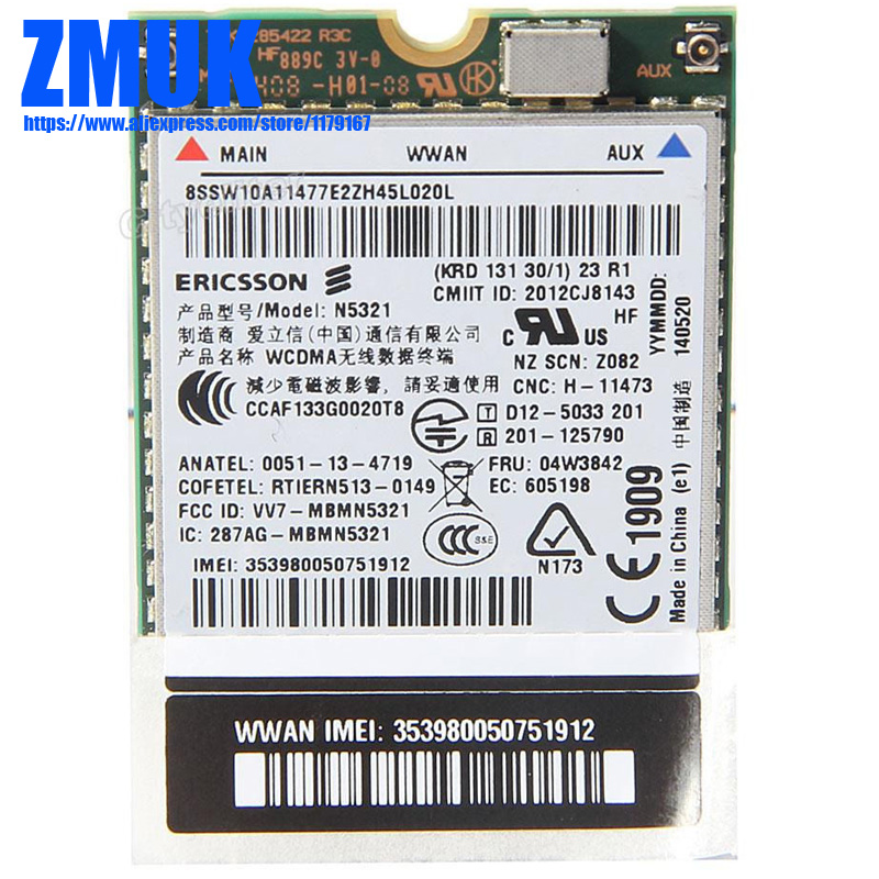 N5321 NGFF M.2 WWAN Card For Thinkpad EDGE E431 E440 E531 L440 L450 S540 T440 T450 T540P W540 W541 X240 Series,P/N 04W3842