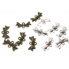 50pcs/lot 21x10mm Metal Bowknot Charms Connectors Clasps Jewelry Findings for DIY Bracelet Earring Jewelry Making Z1081
