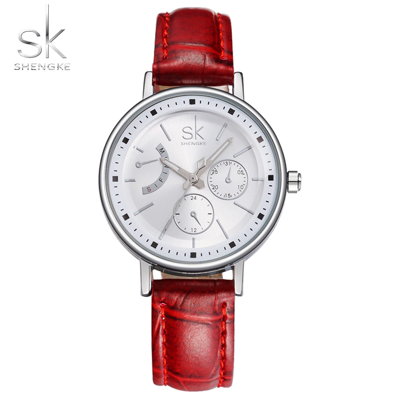 SK marca mujeres vestido 3ATM impermeable relojes correa de cuero reloj de cuarzo de moda banda Sexy rojo horas de las señoras 2017 Nuevo