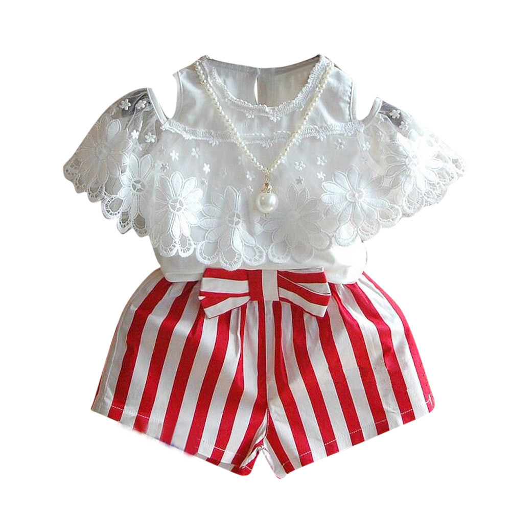 Summer baby clothes overalls children's Flower Outfits Set costume for girls Clothes Lace T-shirt+Stripe Shorts Pants Necklace 2017 summer new children baby girl clothing denim set outfits short sleeve t shirt overalls skirt 2pcs set clothes baby girls